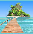 cartoon tropical island with a pier in turquoise vector image