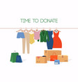 clothes donation girl makes donations vector image