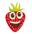 cute strawberry cartoon isolated over white vector image vector image