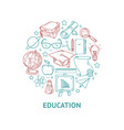 education line icons set in circle shape vector image vector image