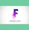 f purple letter logo design with liquid effect vector image vector image