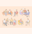 family therapy psychology mental support set vector image vector image