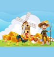 farmer and windmill on the farm vector image vector image