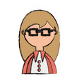 geek woman cartoon vector image vector image