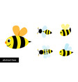 happy cartoon bee flying collection abstract vector image
