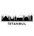 Istanbul City skyline black and white silhouette vector image vector image