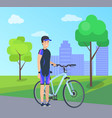 male with bike in special suit at city park vector image vector image