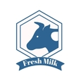 Milk cow logo badge template some nature drinks vector image vector image