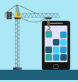 mobile app design with crane lifting building vector image vector image