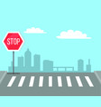 pedestrian crossing with stop sign traffic lights vector image