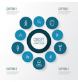 people outline icons set collection of running vector image vector image