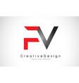 red and black fv f v letter logo design creative vector image