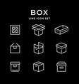 set line icons of box vector image