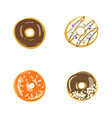 set of four color donuts isolated bakery vector image