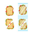 set of sandwiches top view with tomato onion vector image vector image