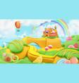 sweet candy landscape 3d background plasticine art vector image vector image