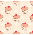 Tile pattern with sweet cupcakes and polka dots vector image vector image