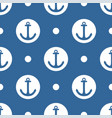 tile sailor pattern with white anchor and dots vector image