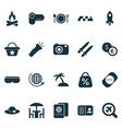 trip icons set with discount ticket flashlight vector image