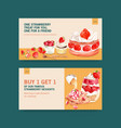 twitter template with strawberry baking design vector image vector image