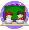 Two boys working on computer laptop vector image vector image