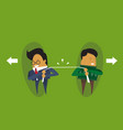 two businessmen pulling rope business competition vector image