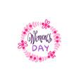 vintage badge happy women day concept pink vector image vector image