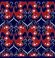 vintage butterflies seamless pattern blue floral vector image vector image