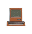 vintage hand drawn personal computer with keyboard vector image