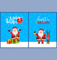 warm wishes and happy holidays postcard with santa vector image vector image