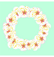 white plum blossom flower wreath on green mint vector image