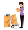 woman receiver with carton boxes vector image vector image