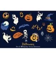 18 Halloween Elements Set Seamless Pattern vector image