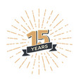 15 th anniversary retro emblem isolated vector image vector image