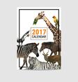 2017 calendar cover animal polygon vector image vector image