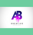 ab a b purple letter logo design with liquid vector image vector image