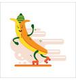 banana smiles riding on roller skates banana vector image vector image