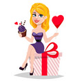 beautiful woman sitting on big gift box vector image