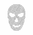 binary code in hacker face shape malware and vector image vector image
