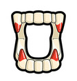 blood tipped plastic fangs halloween icon vector image vector image