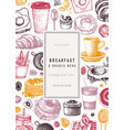 breakfast food card or invitation in color vector image vector image