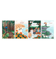 card set with scenes people at summer holidays vector image