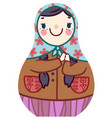 cartoon cute matryoshka doll in floral scarf vector image