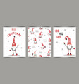 christmas cards with gnomes season vector image vector image