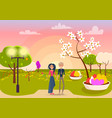 couple on date in park at sunset vector image vector image