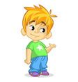 Cute blonde boy waving cartoon vector image