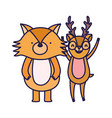 cute deer and fox cartoon on white background vector image