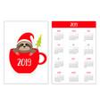 cute sloth in tea coffee cup santa hat christmas vector image vector image