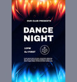 dance night fest poster template with red and blue vector image vector image