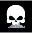 death city skull over town bad ecology concept vector image vector image